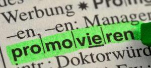 promovieren im Wörterbuch markiert